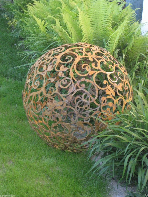 Edelrost barockkugel 80 cm kugel rost eisen metall deko for Edelrost gartendeko