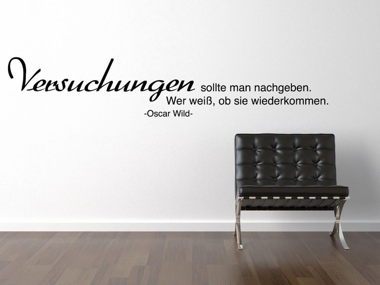 Oscar Wild Versuchung One Wandtattoo Black Spruch Zitat Essen Wein