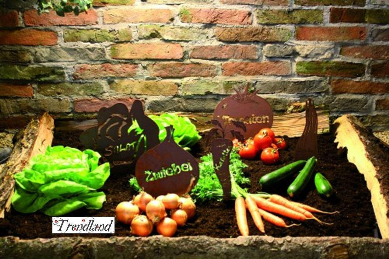 Edelrost Beetstecker Gemüsestecker Gemüse Gartenzubehör