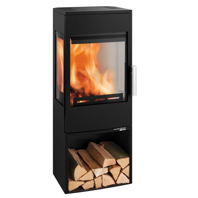 haas sohn wien easy 6 kw kaminofen mit 3 sichtscheiben und holzfach kaufen bei. Black Bedroom Furniture Sets. Home Design Ideas