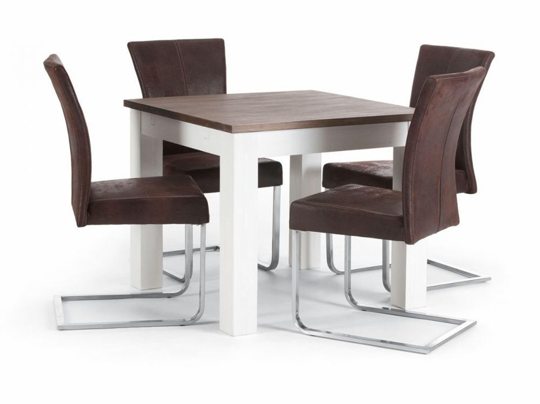 essgruppe tisch 90x90 4 st hle kunstleder akazie holz. Black Bedroom Furniture Sets. Home Design Ideas