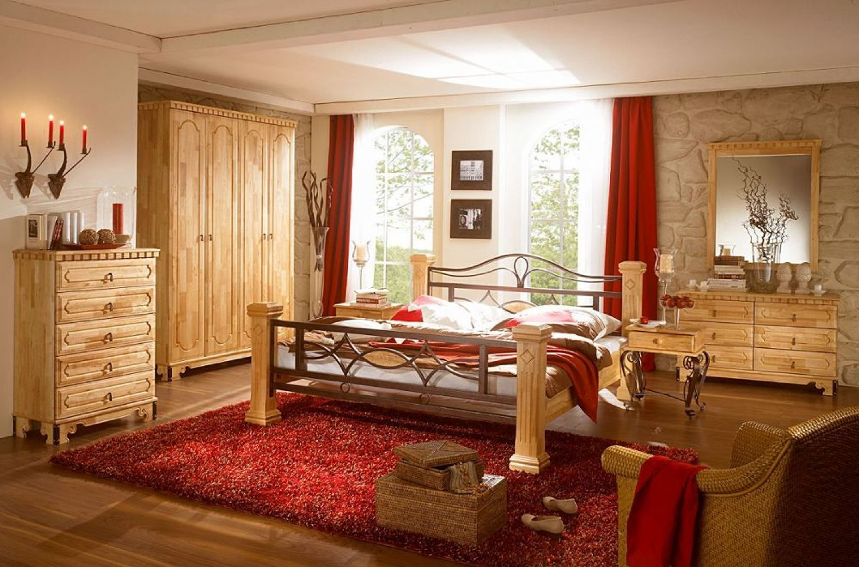 schlafzimmer komplett holz bett 180x200 kleiderschrank. Black Bedroom Furniture Sets. Home Design Ideas