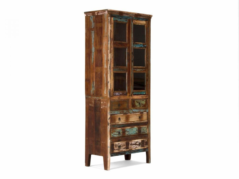 vitrine glasschrank holz bunt vintage antik look schrank wohnm bel neu avadi kaufen bei. Black Bedroom Furniture Sets. Home Design Ideas