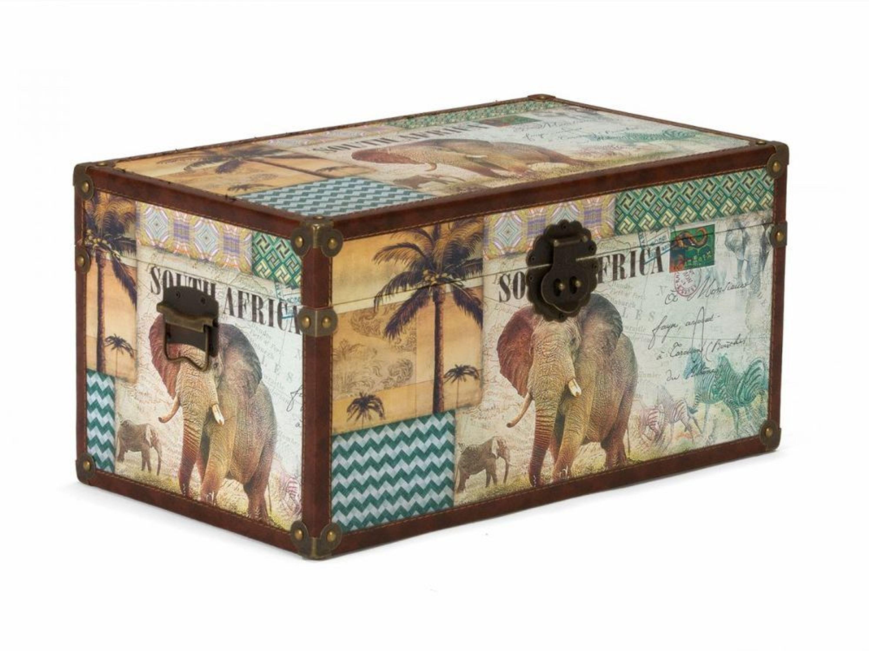 Dekoration aufbewahrung truhe afrika 28cm holz kunstleder - Dekoration afrika ...