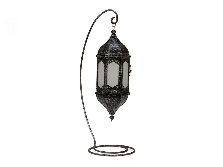 dekoration laterne lampe orientalisch metall 135cm mit st nder schwarz neu kaufen bei. Black Bedroom Furniture Sets. Home Design Ideas