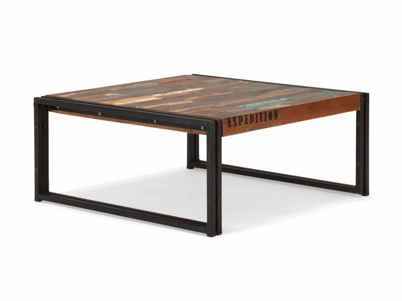 Couchtisch 80×80 antik Holz massiv Metall Designer  -> Couchtisch Holz Industrie