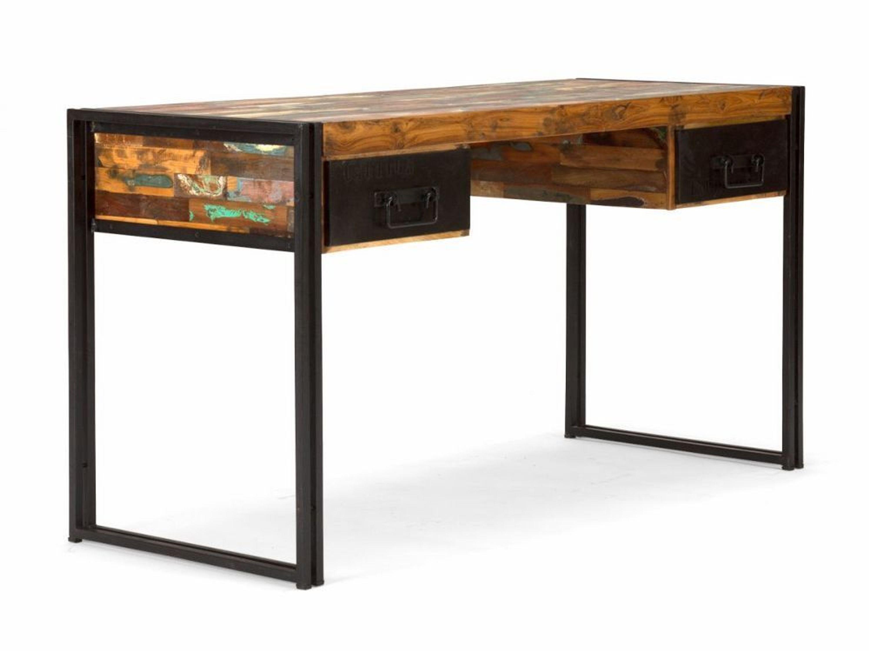 schreibtisch 150x60 antik holz metall designer industrie b ro m bel neu quebec kaufen bei. Black Bedroom Furniture Sets. Home Design Ideas