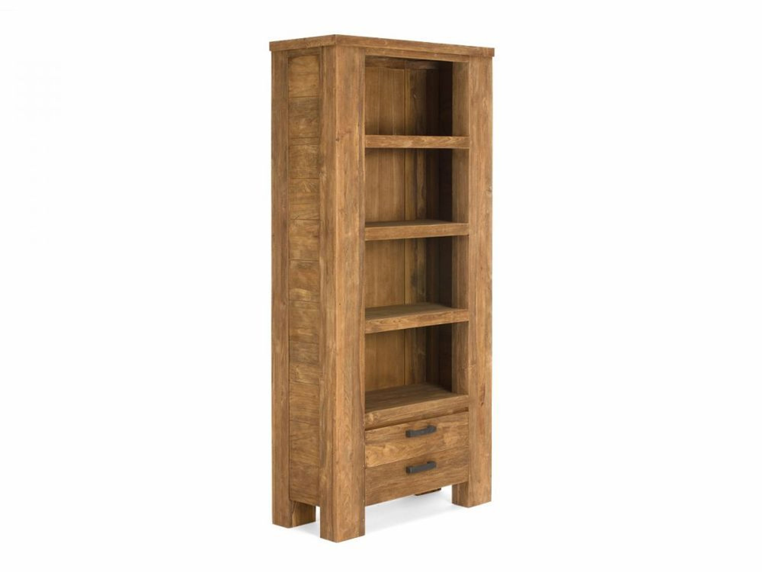 Bücherregal Teak massiv Holz rustikal Regal + 2 Schubladen  ~ Bücherregal Teak