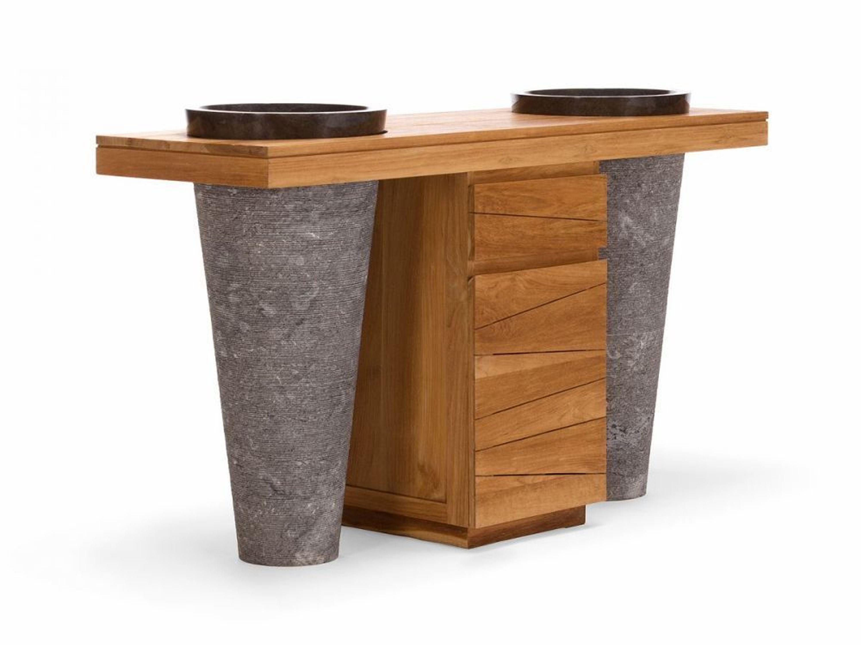 doppel waschtisch waschbeckenschrank marmor teak holz. Black Bedroom Furniture Sets. Home Design Ideas