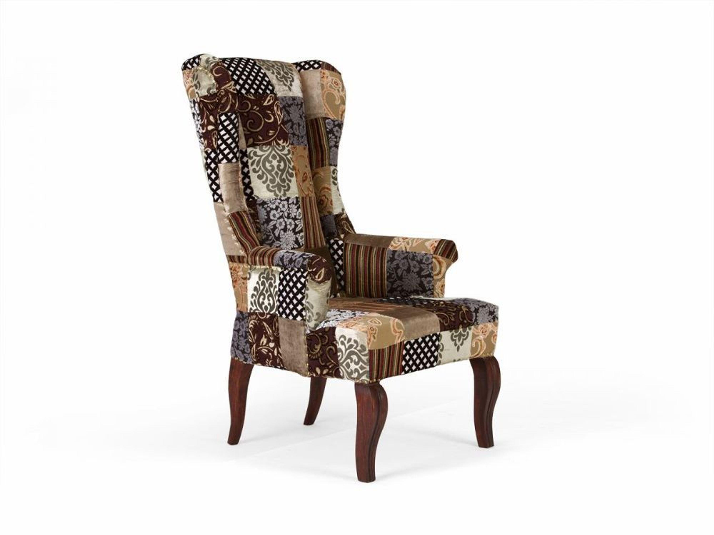 ohrensessel patchwork design stoff braun sessel sitzm bel. Black Bedroom Furniture Sets. Home Design Ideas