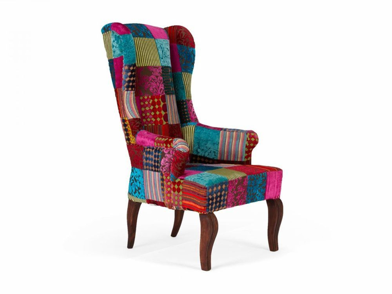 ohrensessel patchwork design stoff pink bunt sessel sitzm bel neu florese kaufen bei. Black Bedroom Furniture Sets. Home Design Ideas
