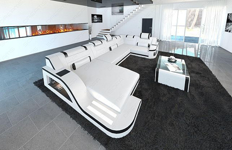 Luxus wohnlandschaft palermo u form couch garnitur led for Wohnlandschaft luxus