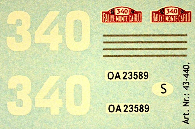 Volvo 544 Rallye Monte Carlo 1962 #340 Ewy Rosquist 1:43 Decal Abziehbild