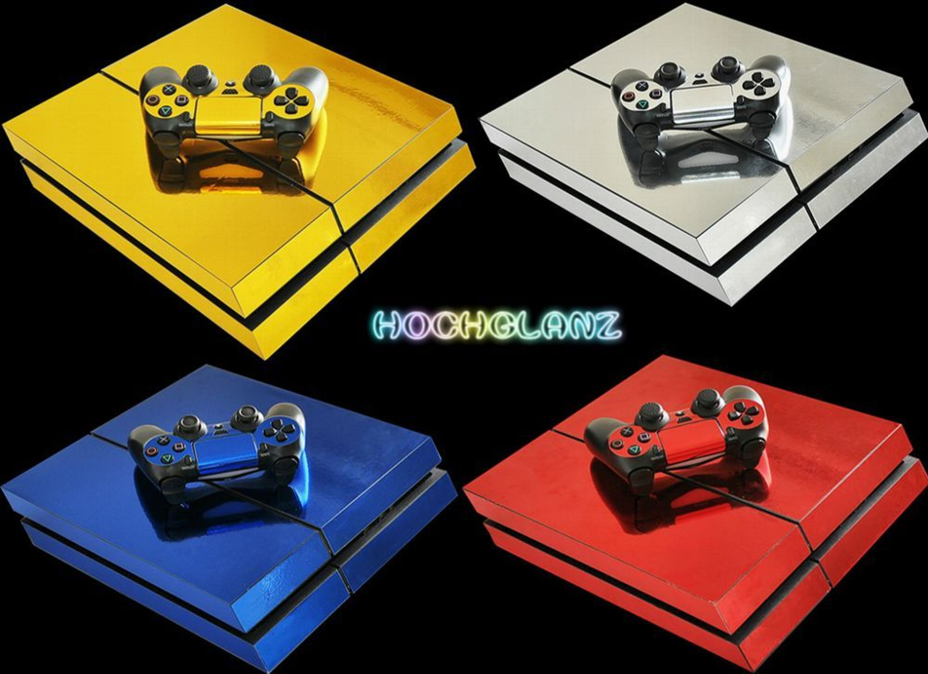 Hochglanz chrom skin f sony ps4 playstation 4 design for Hochglanz folie