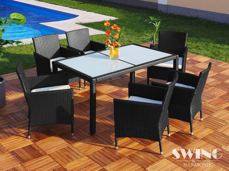 poly rattan esstisch 6 st hle garten sitzgarnitur tisch schwarz kaufen bei. Black Bedroom Furniture Sets. Home Design Ideas