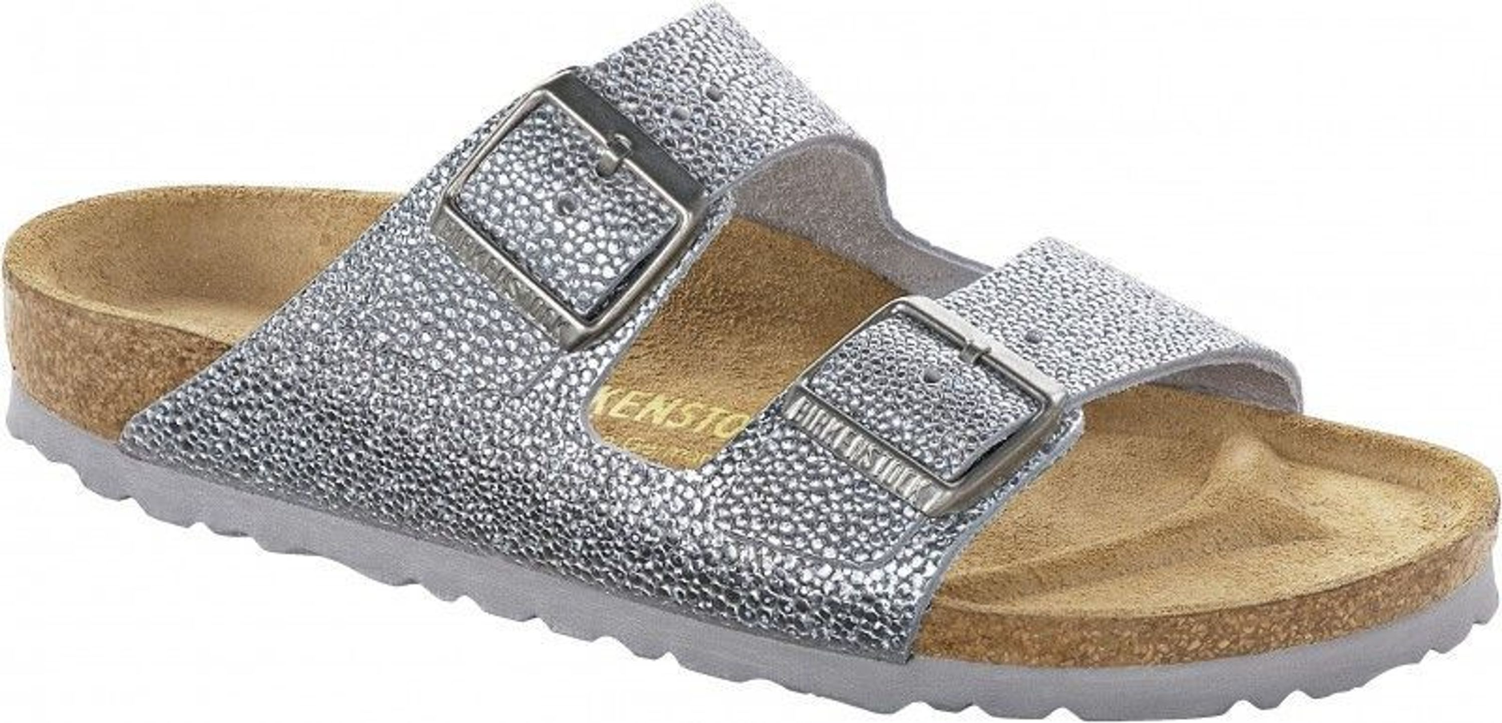 birkenstock pantolette arizona pebbles metallic silver gr. Black Bedroom Furniture Sets. Home Design Ideas