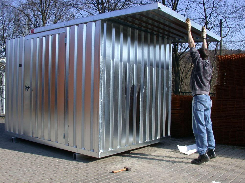 Container lagerhalle bauwagen halle gartenhaus for Container gartenhaus
