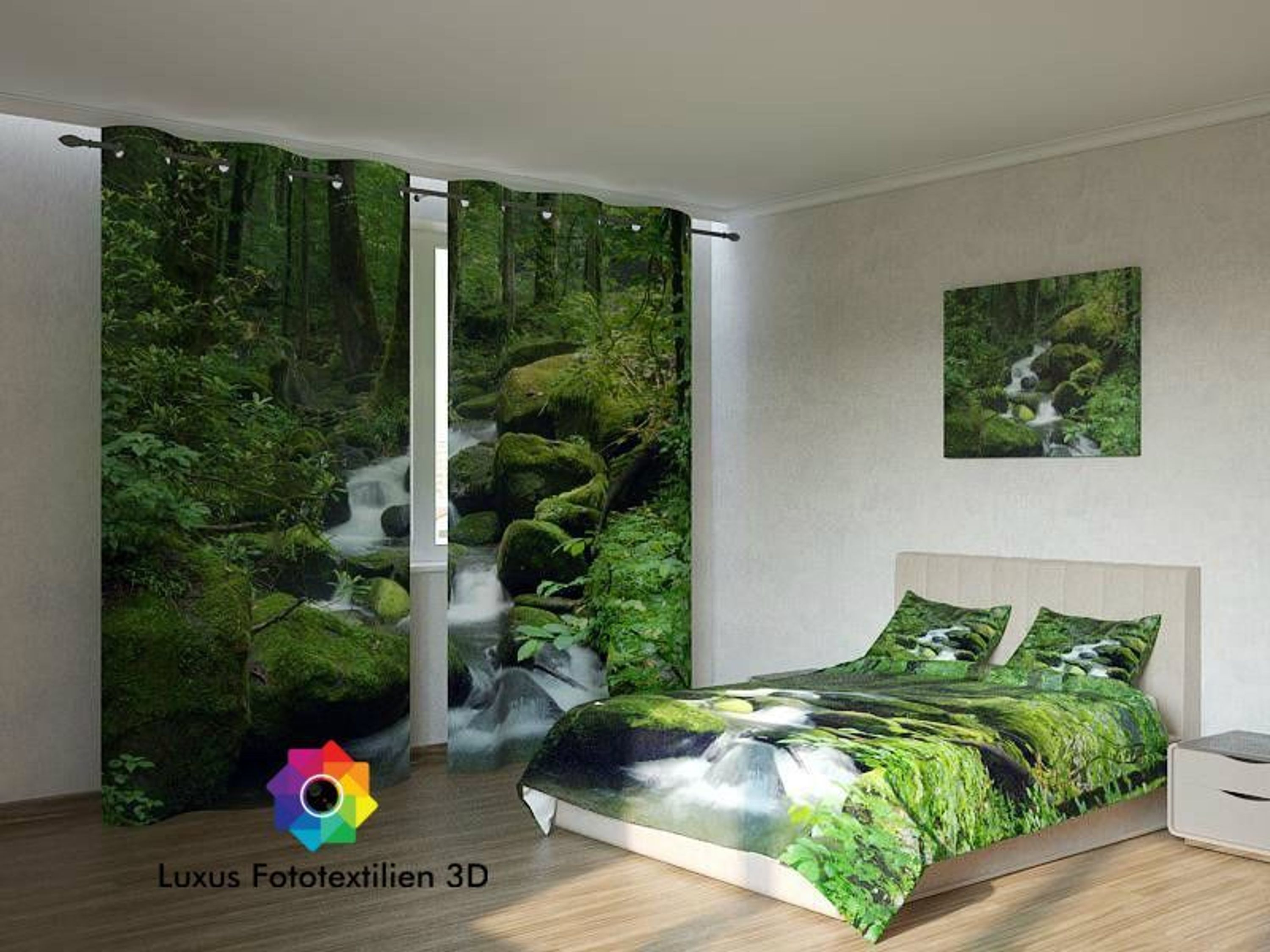 fotogardine wasserfall foto vorhang gardinen in luxus fotodruck 3d auf ma kaufen bei. Black Bedroom Furniture Sets. Home Design Ideas