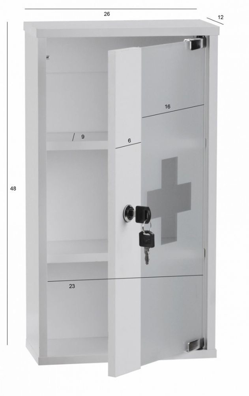medizinschrank abschlie bar erste hilfe schrank wei 48 x 26 x 12 cm kaufen bei. Black Bedroom Furniture Sets. Home Design Ideas