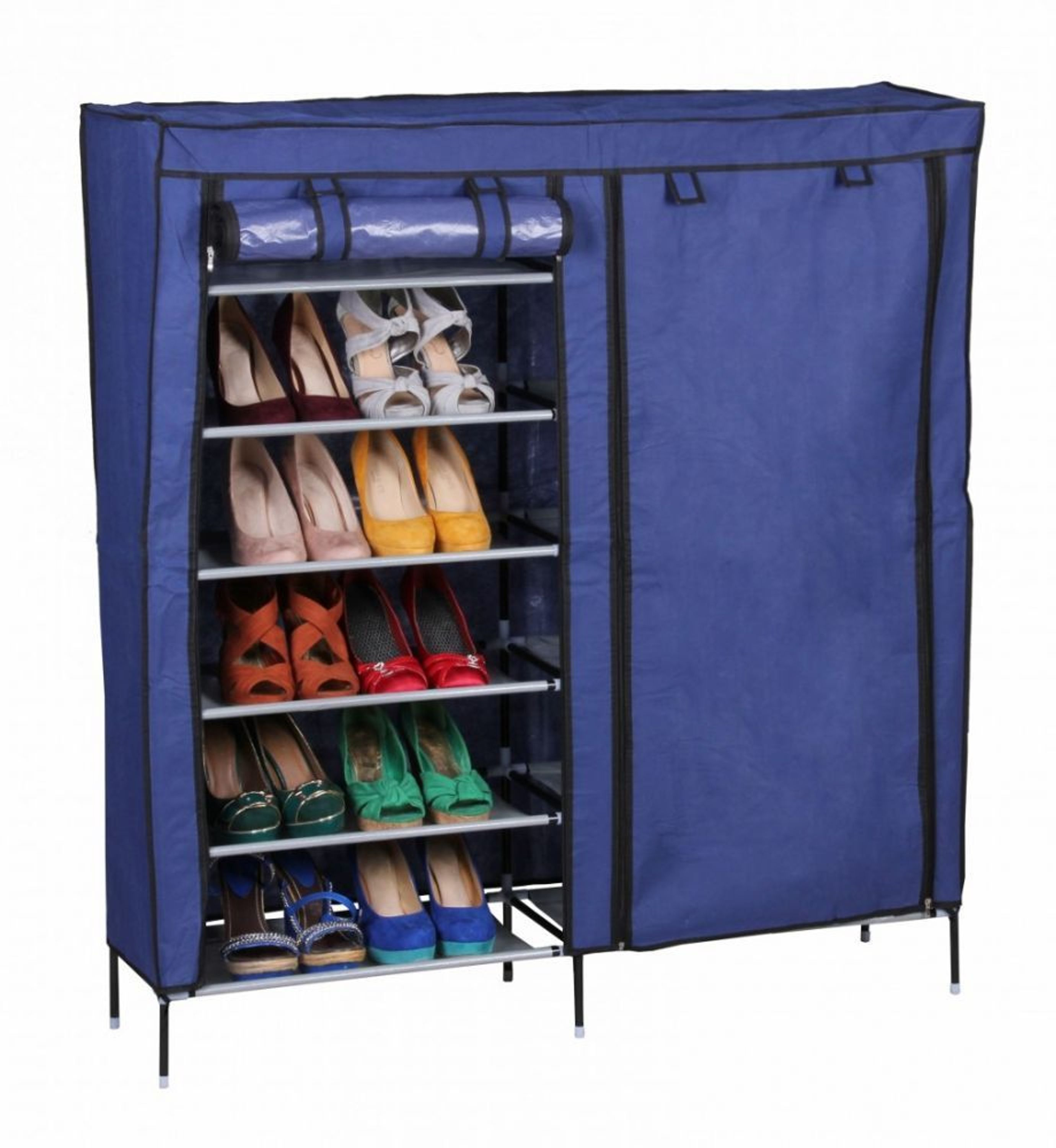 textil schuhschrank 118 x 110 x 30 cm f r 36 paar schuhe blau kaufen bei. Black Bedroom Furniture Sets. Home Design Ideas
