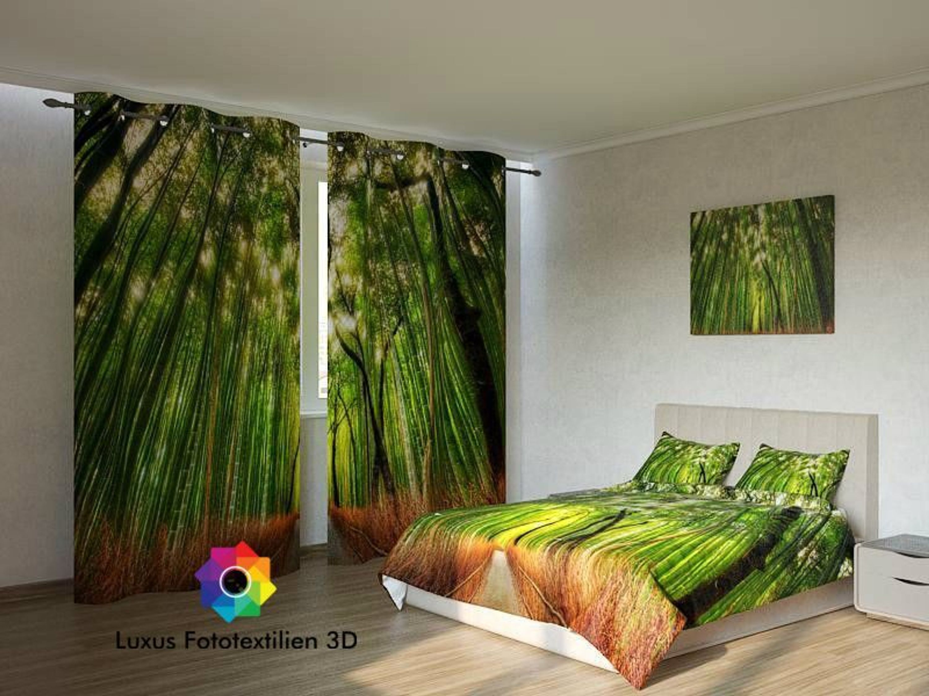 fotogardine wald foto vorhang gardinen in luxus fotodruck 3d auf ma kaufen bei. Black Bedroom Furniture Sets. Home Design Ideas