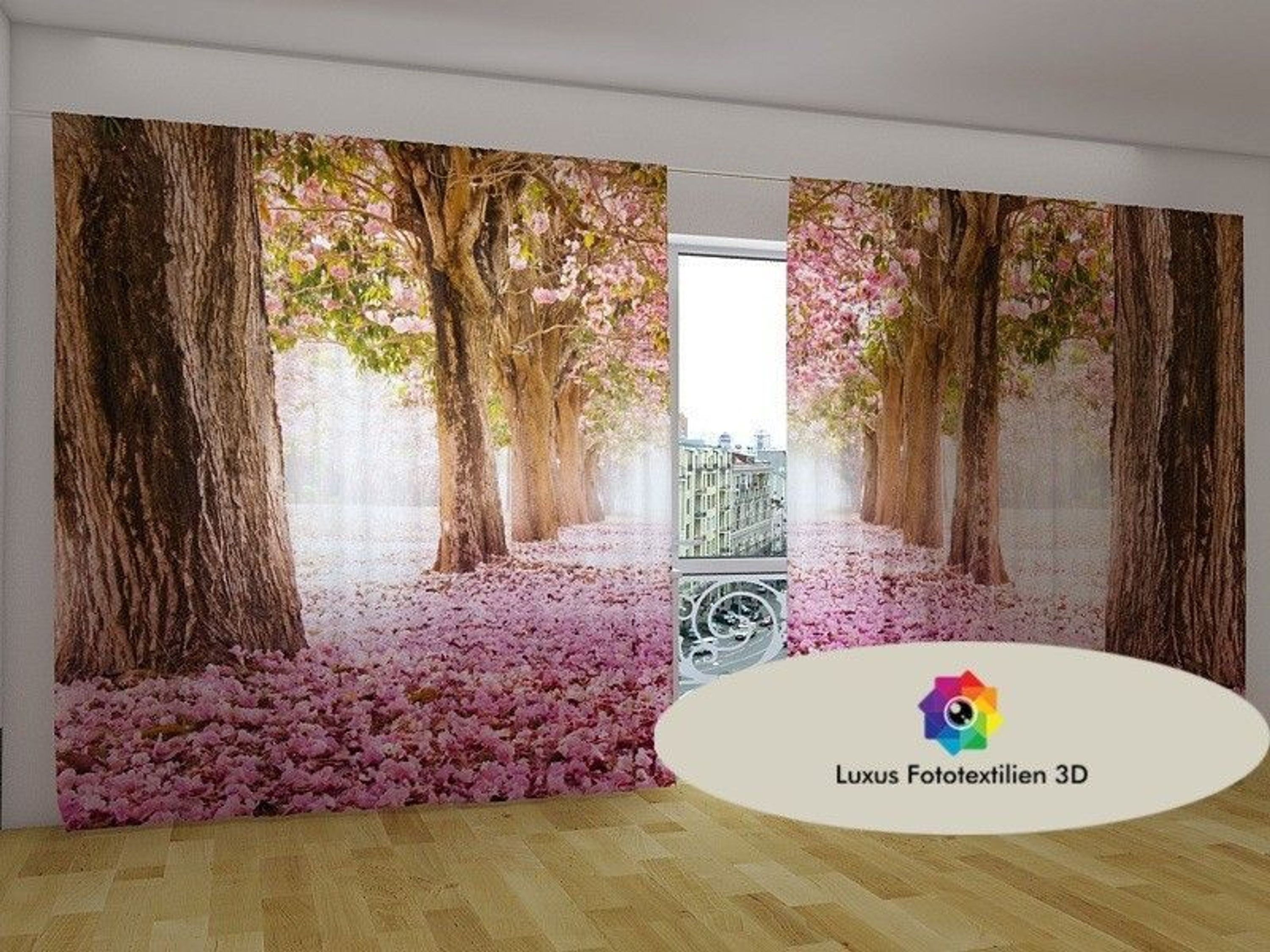 fotogardine 3d magnolien foto vorhang gardinen in luxus fotodruck ma anfertigung kaufen bei. Black Bedroom Furniture Sets. Home Design Ideas