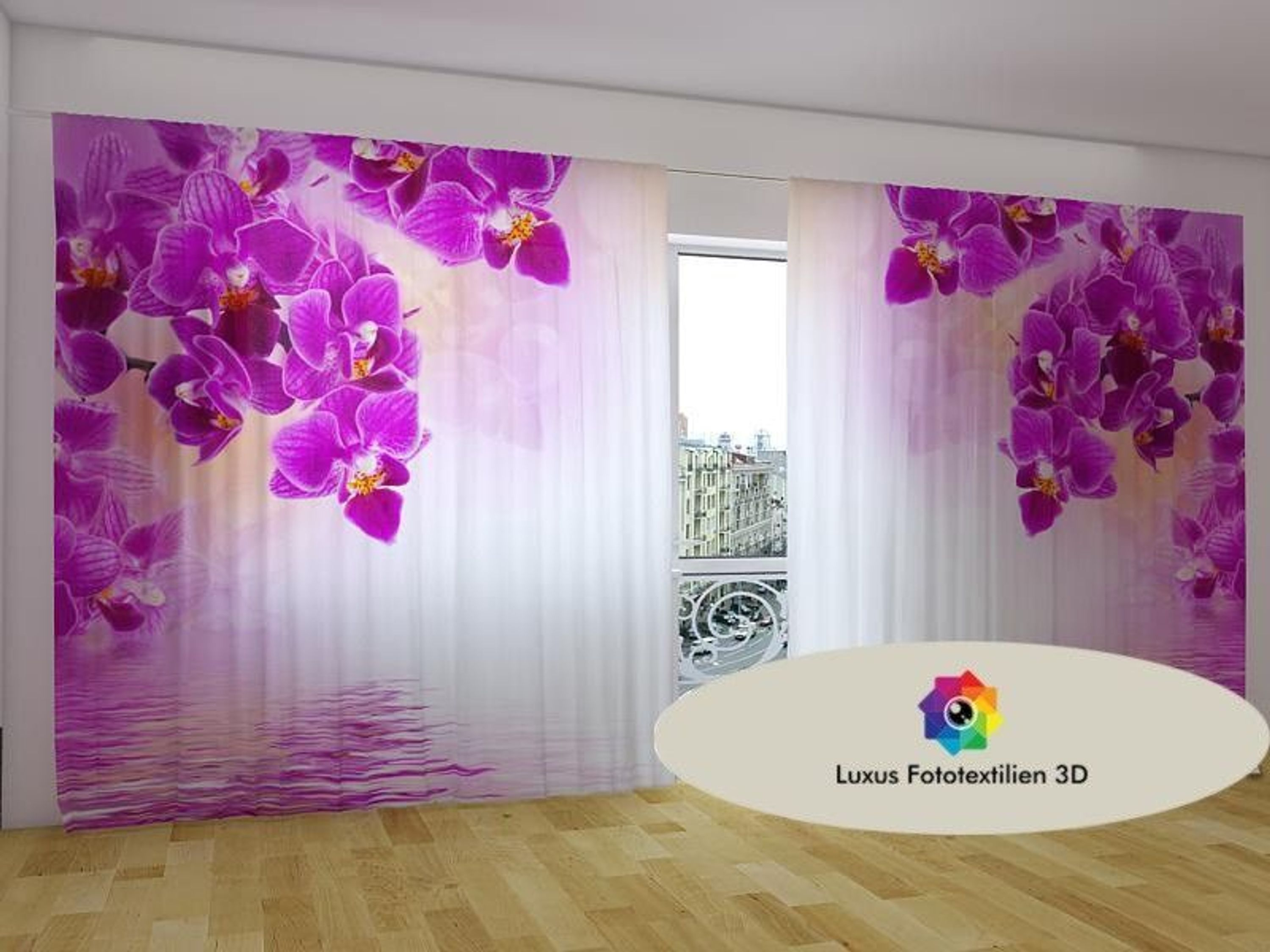 fotogardine 3d orchideen foto vorhang in luxus fotodruck. Black Bedroom Furniture Sets. Home Design Ideas