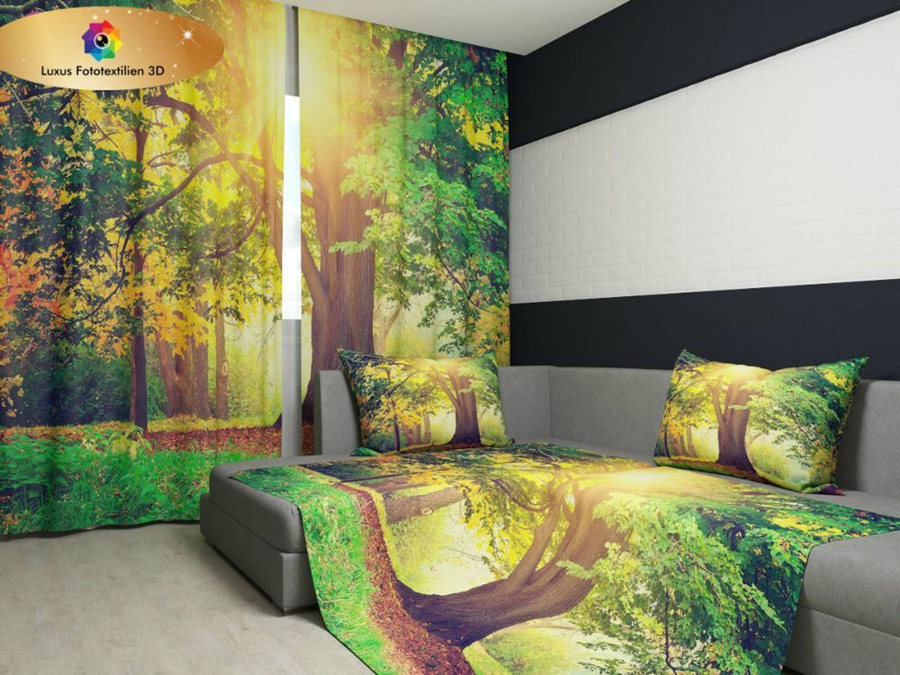 fotogardine 3d park foto vorhang gardinen in luxus. Black Bedroom Furniture Sets. Home Design Ideas