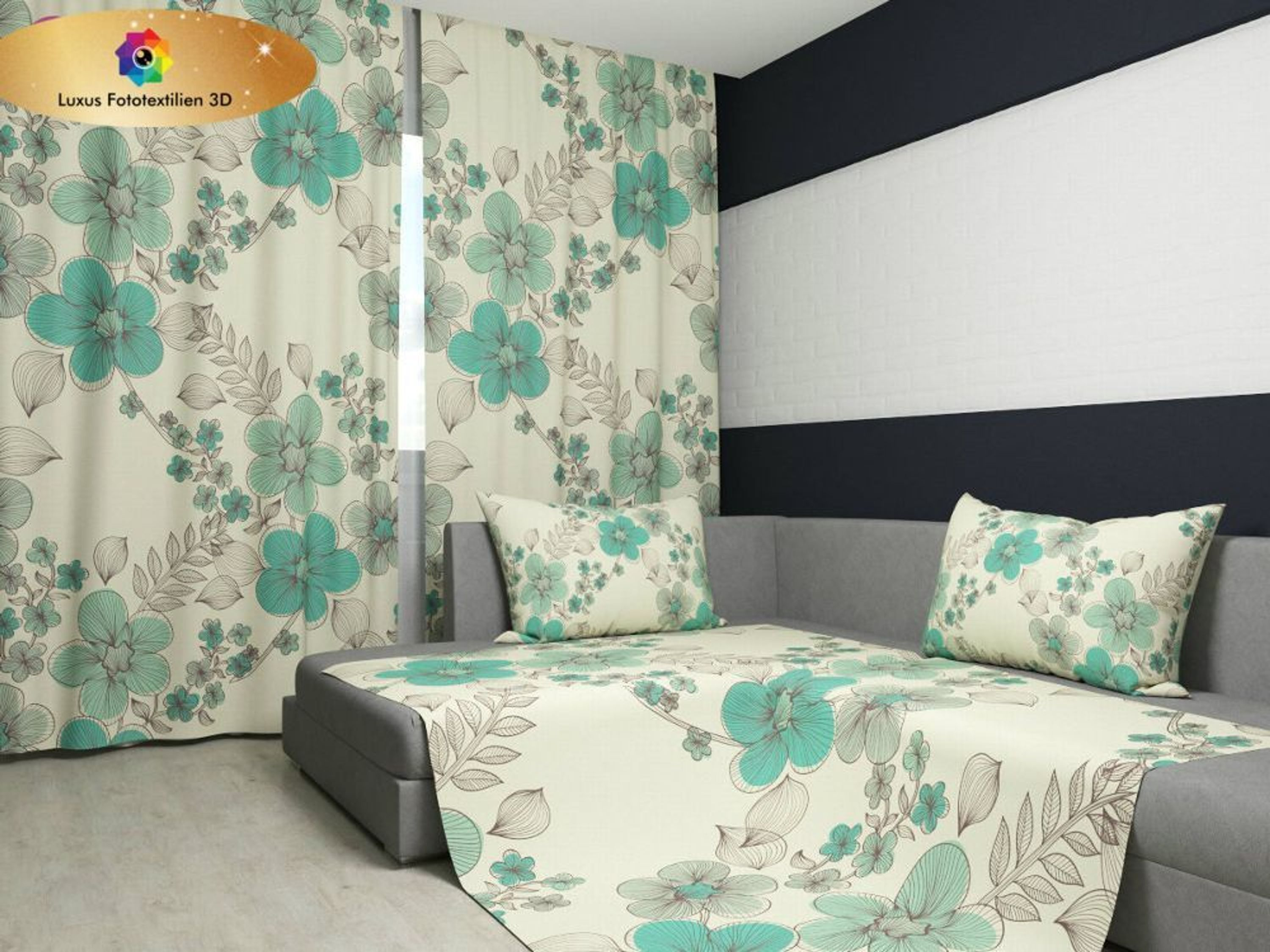fotogardine 3d blumenmuster t rkis foto vorhang gardinen. Black Bedroom Furniture Sets. Home Design Ideas