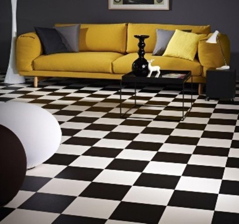 PVC Bodenbelag Fliesen schwarz-weiß Schachbrett 400 cm Breite pro qm = 9,95  €