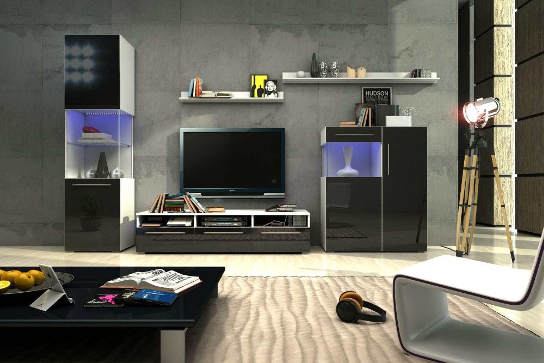 designer wohnwand nicea i hochglanz schwarz mit led kaufen bei. Black Bedroom Furniture Sets. Home Design Ideas