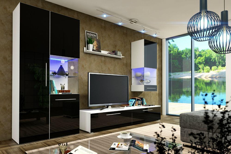 designer wohnwand nicea i hochglanz schwarz mit led kaufen. Black Bedroom Furniture Sets. Home Design Ideas