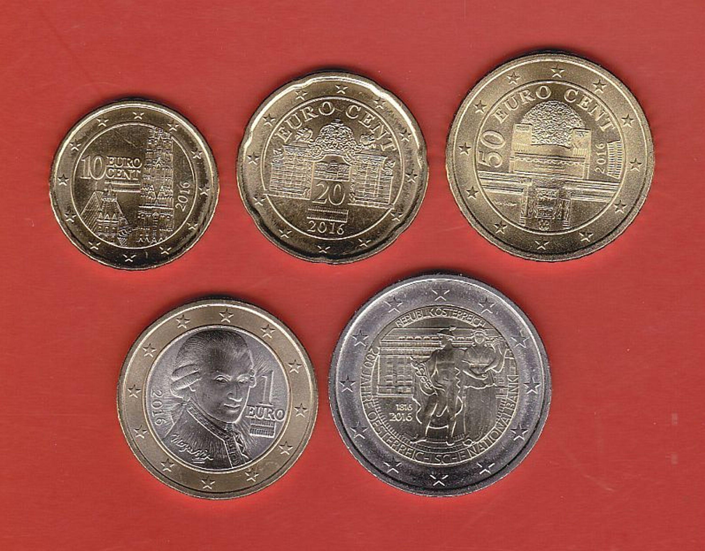 2016 österreich Münzen 10 Cent 20 Cent 50 Cent 1 2 Euro Unc