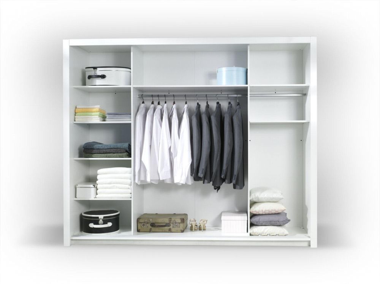 Komplett Schlafzimmer Hochglanz Weiß mit LED Bett, Schrank, 2 x Nako ...