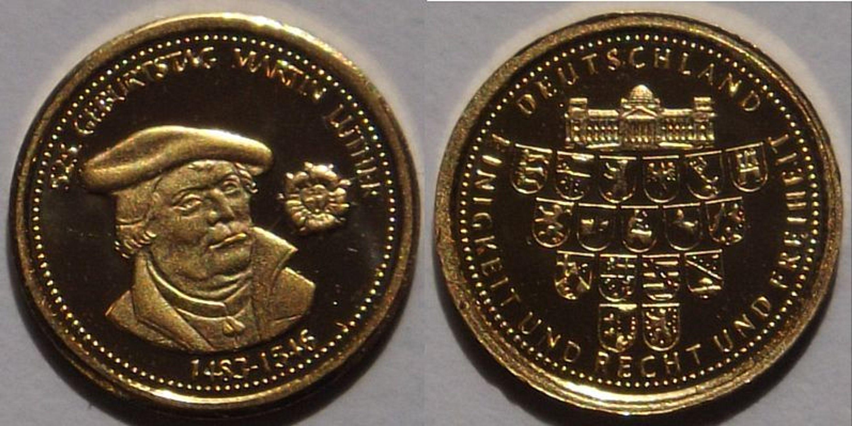 Münze Medaille 525 Geburtstag Martin Luther Gold Kaufen Bei Hoodde