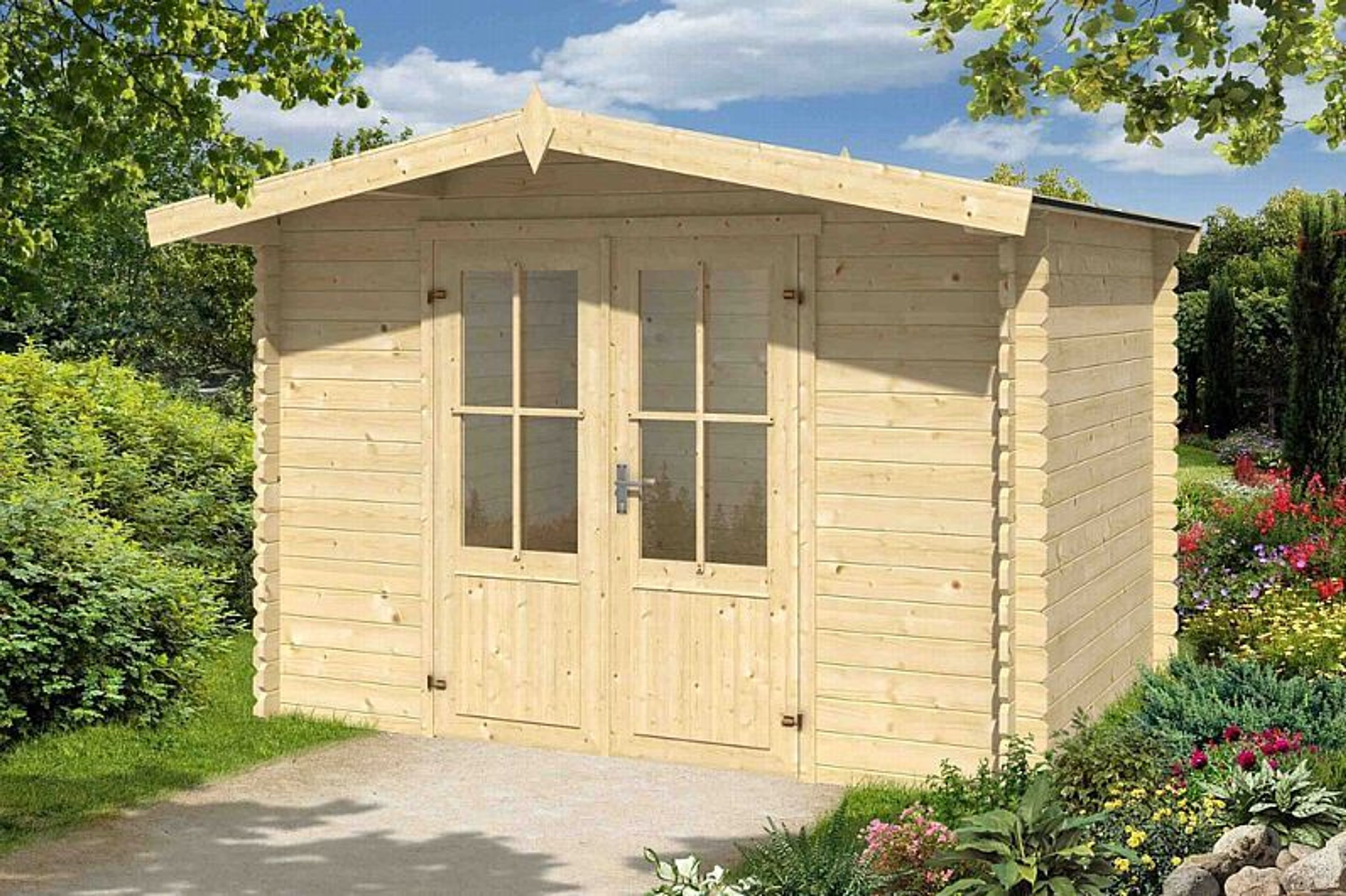 gartenhaus hinnie ca 300x250 cm schuppen ger tehaus blockhaus qualit t holz 28 mm kaufen bei. Black Bedroom Furniture Sets. Home Design Ideas