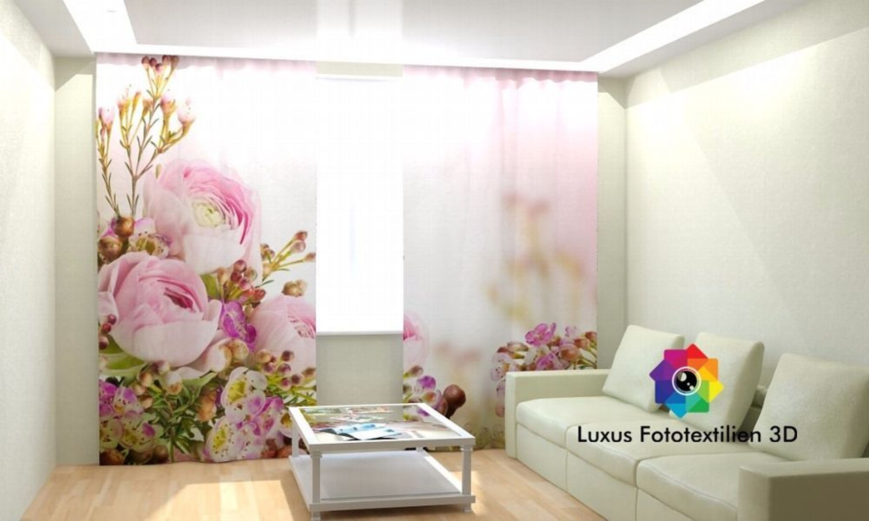 fotogardine 3d blumen fotovorhang gardinen in luxus fotodruck ma anfertigung kaufen bei. Black Bedroom Furniture Sets. Home Design Ideas
