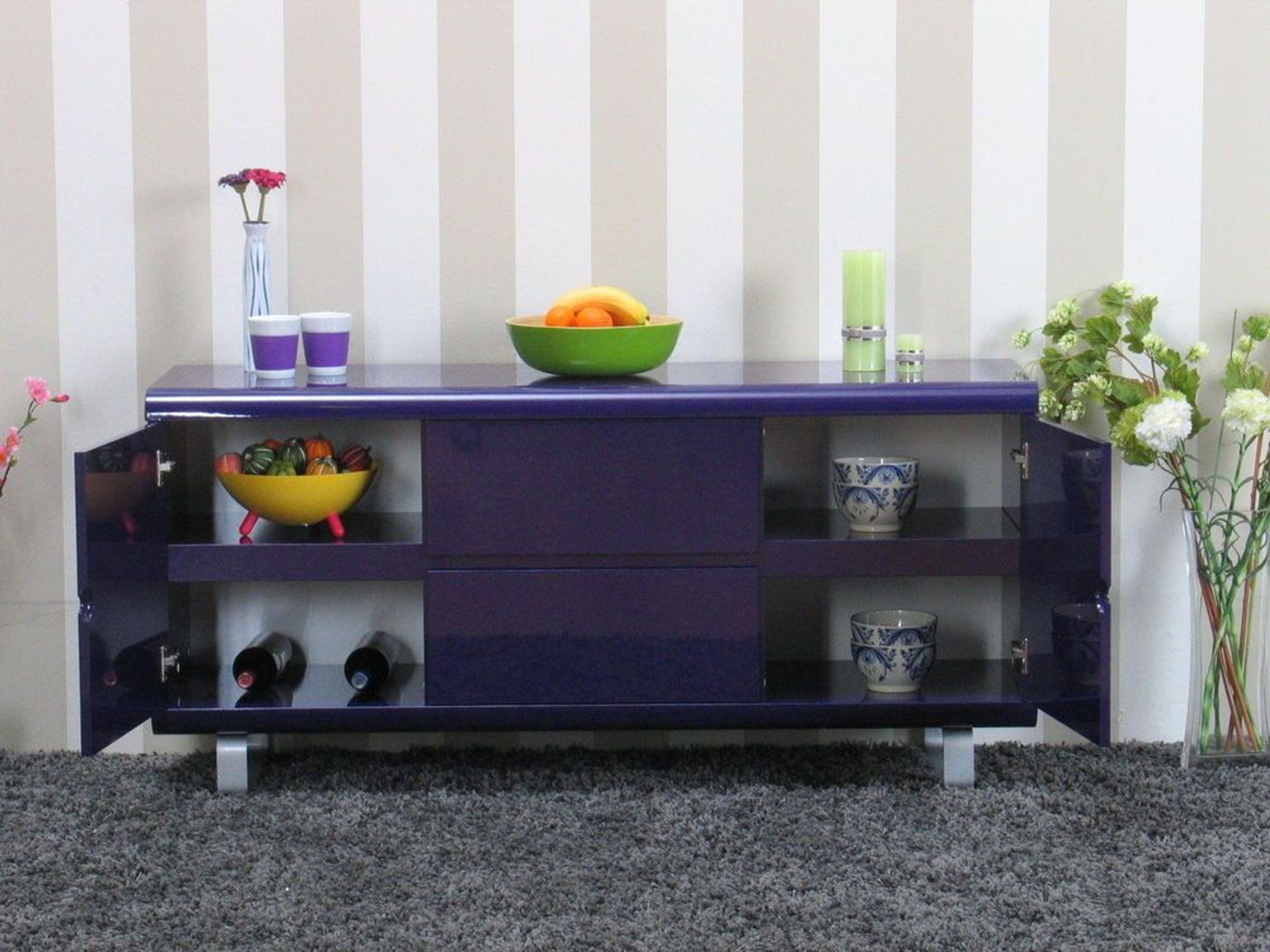 sideboard spacy kommode anrichte schrank lila hochglanz kaufen bei. Black Bedroom Furniture Sets. Home Design Ideas