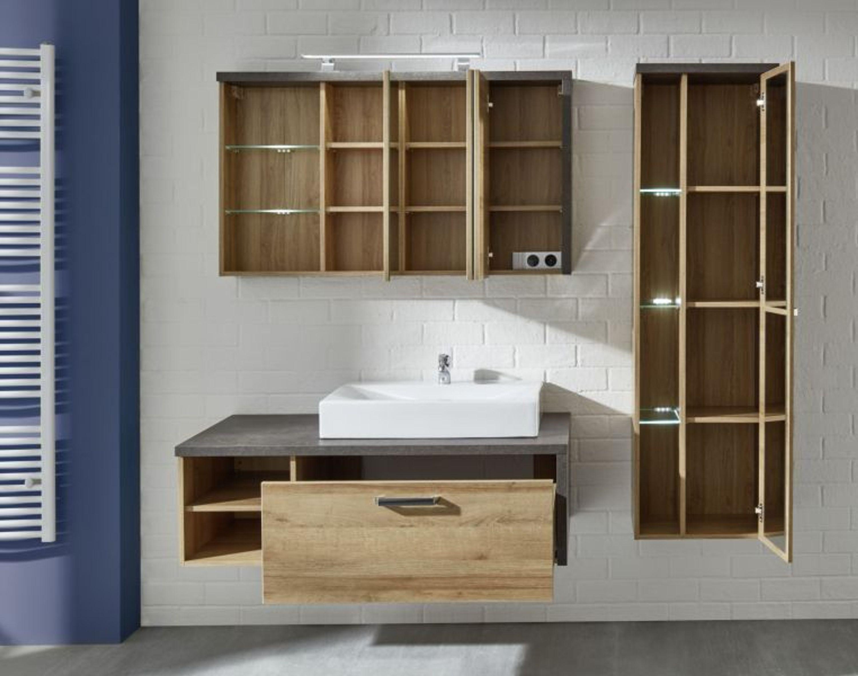 bad m bel komplett set waschtisch mit waschbecken eiche riviera beton grau bay kaufen bei. Black Bedroom Furniture Sets. Home Design Ideas