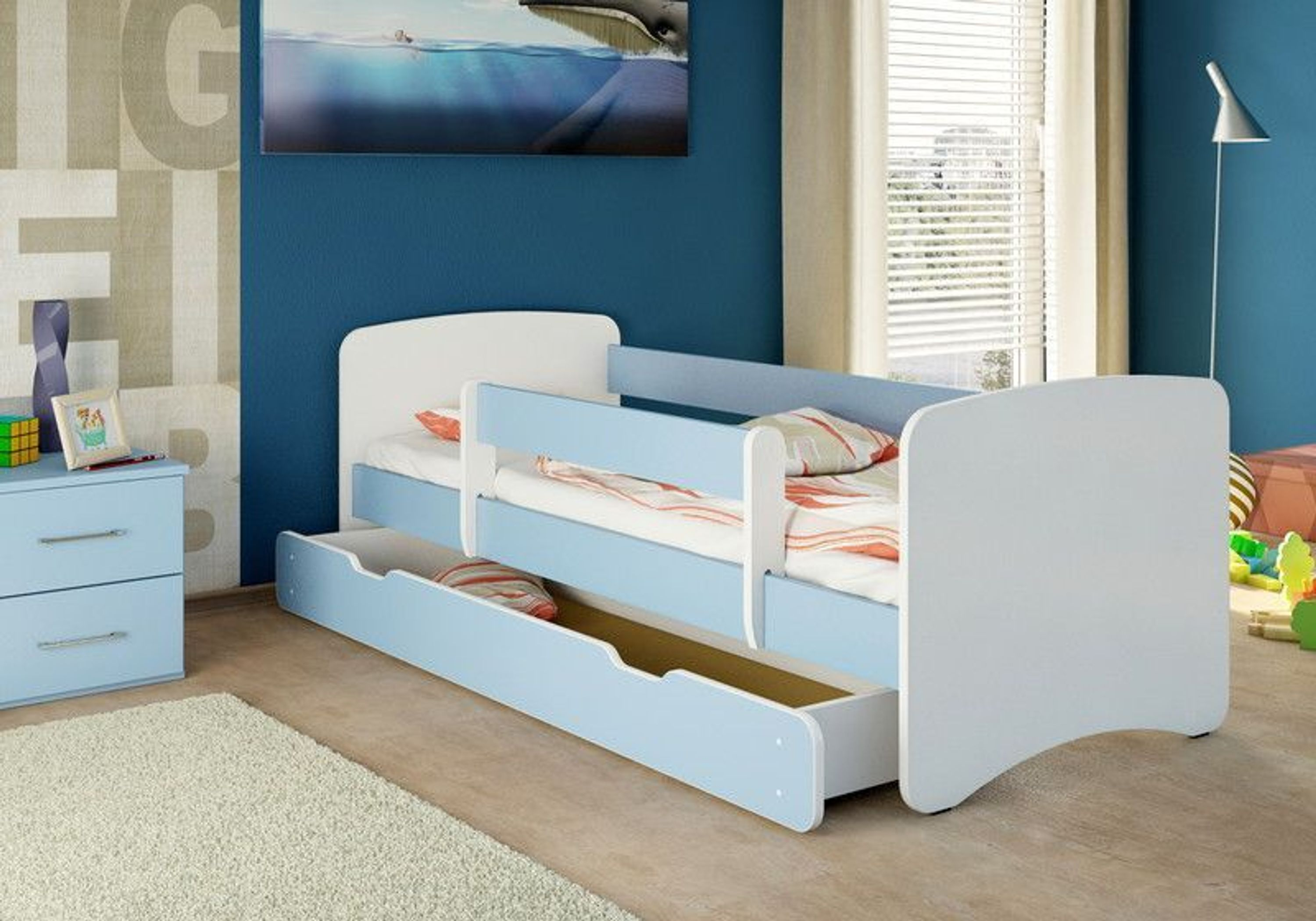 nicenico kinderbett jugendbett bettkasten matratze 160 70 blau kaufen bei. Black Bedroom Furniture Sets. Home Design Ideas