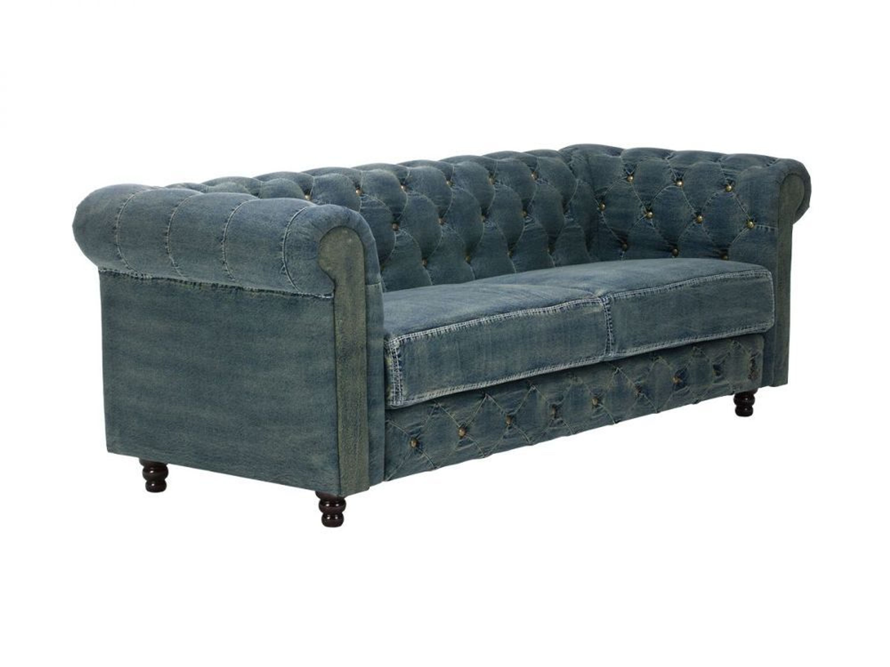 chesterfield sofa 3 sitzer vintage jeans blau stoff couch sitzm bel neu kaufen bei. Black Bedroom Furniture Sets. Home Design Ideas