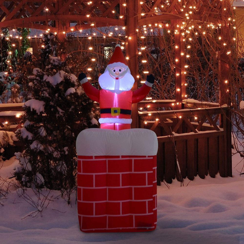 Homcom Aufblasbarer Weihnachtsmann Weihnachtsdeko Santa