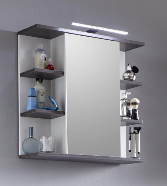 Badezimmer Spiegelschrank California Weiss Und Sardegna Grau Mit Regal