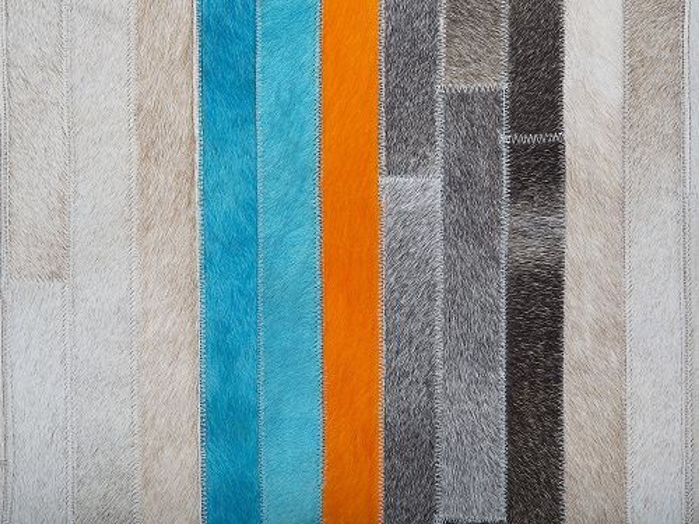 Teppich graublauorange  160×230 cm  Leader  Kuhfell