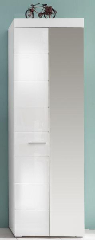 Schrank weiß hochglanz mit spiegel  Flur Garderobe Schrank weiss Hochglanz Kleider und Schuhschrank ...