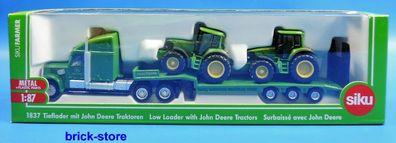 Siku 1837 US Tieflader mit 2 John Deere Traktoren Maßstab 1:87 Modellauto NEU!°