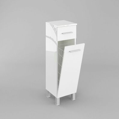 Badezimmerschrank Schrank Mit Wäschekorb Sn7 30 Cm In Weiß Hochglanz Oder Mat