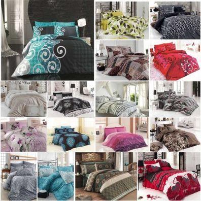 Bettwäsche 200x220 cm Bettgarnitur Bettbezug Baumwolle Kissen Decke 4 tlg VAR #6