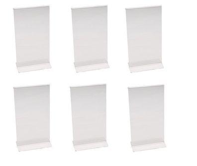 6x Kartenhalter Kartenhalterung aus Acryl Thekenkartenhalter Abm: 15 x 6 cm