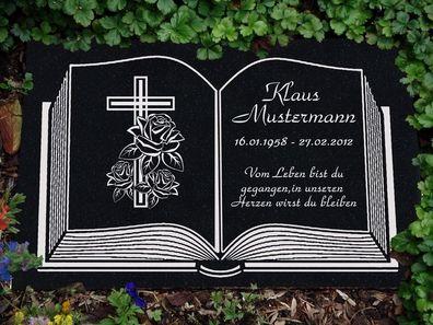 Grabstein Grabplatte Grabmal Naturstein Inschrift Buch-g02s Stütze 40x30 inkl
